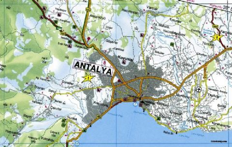 Antalya, Antalya City Map, Map of Antalya, South Turkey Map, Turkey Antalya Map