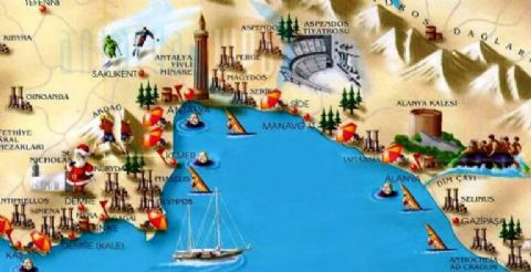 Antalya Tourist Map, Kemer Map, Alanya Map,