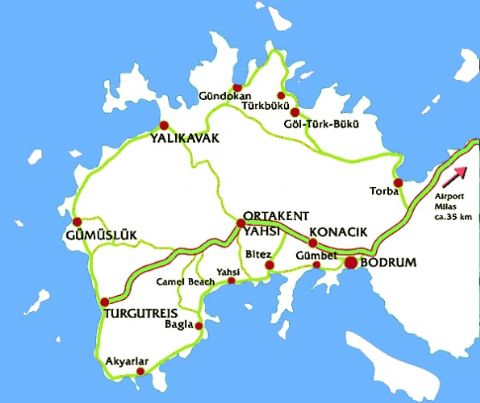 Bodrum Map, Map of Bodrum, Bodrum Mugla Map
