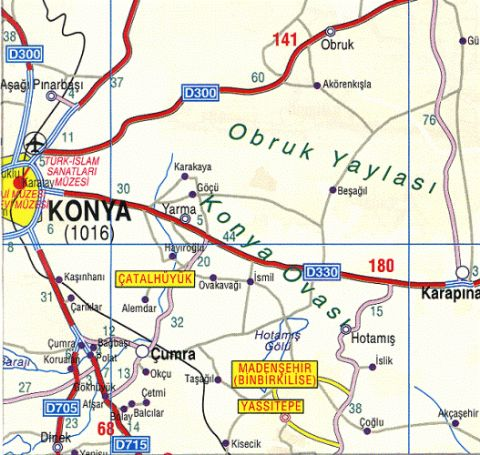 Catalhoyuk Map, Map of Catalhoyuk, Konya Catalhoyuk Map, Archeological Sites Map