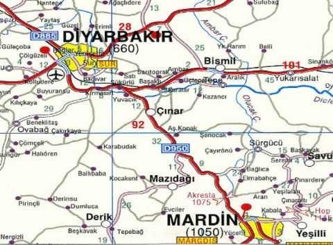 Diyarbakır Map, Diyarbakır Turkey Map, Map of East Turkey, East Turkey Travel Map