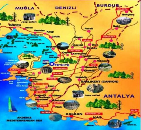 Fethiye, Fethiye Map, Map of Fethiye, South Turkey Map