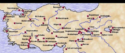 First Living in Turkey Map, archeological Sites in Turkey Map,Catalhoyuk Map, Hattusas Map, Alacahoyuk Map