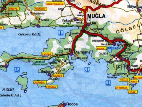 Marmaris Map, Map of Marmaris, Mugla Marmaris Map,