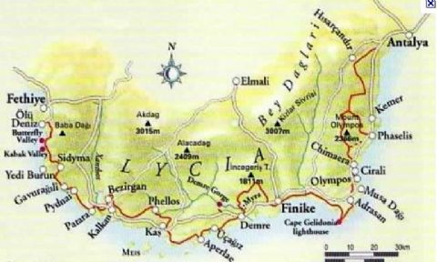 Myra Map, Lycian way Map, demre Map, Antalya Map,
