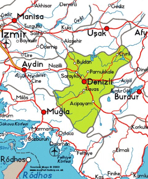 Pamukkale Map, Denizli Map, Map of Denizli, Pamukkale Turkey Map, Map of Pamukkale,