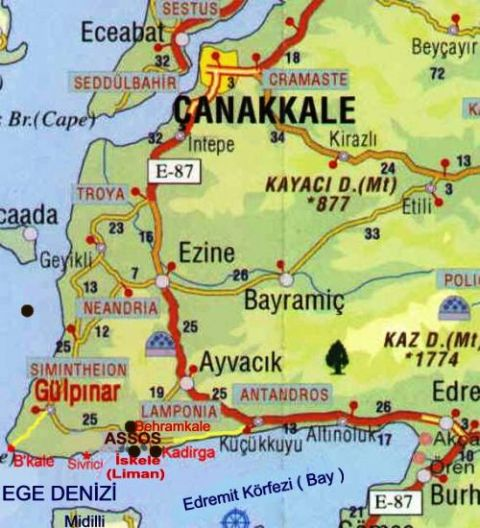 Truva Map, troy Map, Map of Troy, Canakkale Map, Anzac Map