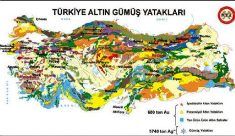 Turkey Mine Map, Mine Reserves in Turkey Map, Gold Map Turkey