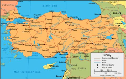 Turkey travel destinations map, turkey map